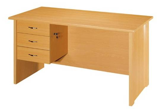Multi purpose table with lockable drawers.